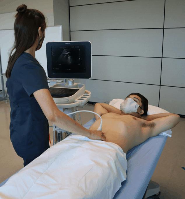 Bladder Ultrasound patient and machine positioning