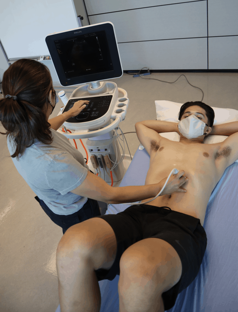 Abdominal Ultrasound Preparation - Patient and machine